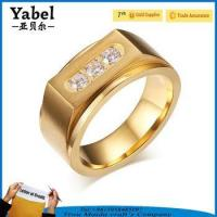 Buy cheap Gold Stainless Steel Wedding Zircon Three-stone Ring Designs For Men product