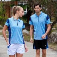 Buy cheap Couple Blue Color Combination Polyester Dry Fit Running Polo Shirts with zipper product
