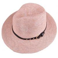 Buy cheap Wide Brim Light Pink Summer Fedora Caps 100% Polyester Solid Hats with Black Belts for Women product