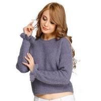 Buy cheap New Design Chunky Knitted Jumper Computer Knit Sweater Half Milano Stitch Ruffle from wholesalers