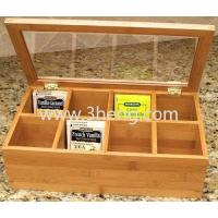 Natural Living Bamboo Tea Box With 8 Removable Equally Divided Compartments&Clear Lid