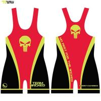 Buy cheap Gray camo wrestling clothes gear 100% polyester wrestling singlet product